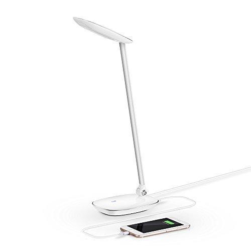 AVANTEK DL-Q7 目にやさしい/目を傷めない 多機能 LED デスクライト, 折りたたみ式テーブルライト 3段階調光 USB充電ポート付 白色光