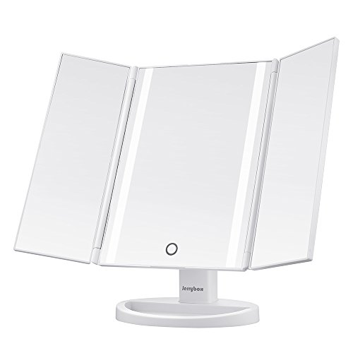 Jerrybox 三面鏡 卓上スタンドミラー LED化粧鏡 折りたたみ式 16色のタッチスクリーン 180度調整 LEDイルミネーション (ホワイト)
