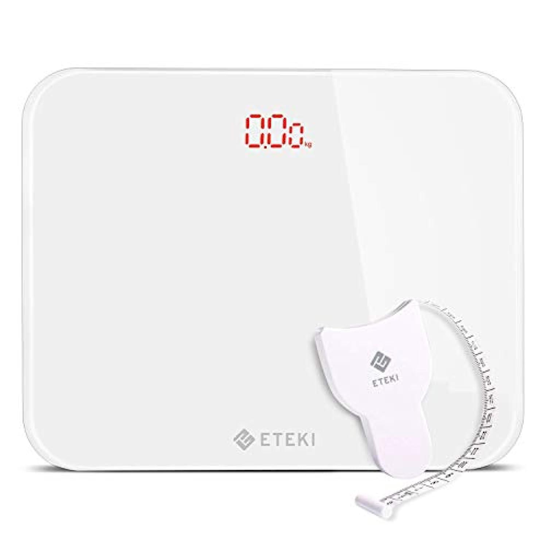 Eteki 体重計 デジタル ヘルスメーター おまけのメジャー付き 高精度のボディースケール 50g単位で3kgから180kgまで測定でき 乗るだけで電源ON 薄型で軽量収納しやすい EB4010J電子スケール(電池付属) (ホワイト)