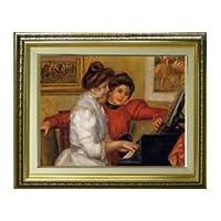 ルノワール ピアノと若い少女 F6 油絵直筆仕上げ| 絵画6号 554×463mm 複製画 ゴールド
