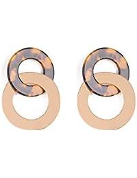 Brown Gold Tone Acrylic And Metal Disc Drop Earrings