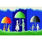 【雨の季節のメッセージに】 雨季の恋人たち/切り絵デザイン / 5枚組(ポストカード)