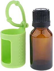 D DOLITY アロマ保存容器 直立状態 貯蔵ボトル 詰め替え可能 シリコン 保護カバー 15ミリリットル 6色選ぶ - 緑, 説明したように