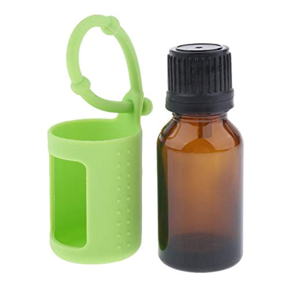日付ハイキングに行くわずかにD DOLITY アロマ保存容器 直立状態 貯蔵ボトル 詰め替え可能 シリコン 保護カバー 15ミリリットル 6色選ぶ - 緑, 説明したように