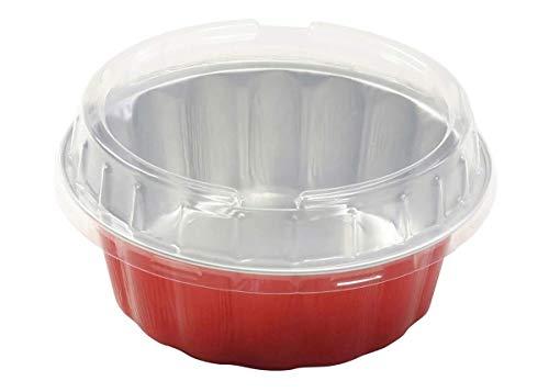 KitchenDance 使い捨て 色付き アルミニウム 8オンス 個々のケーキカップ タルトパン デザートパン カラー&蓋オプション #A8 レッド Alu8