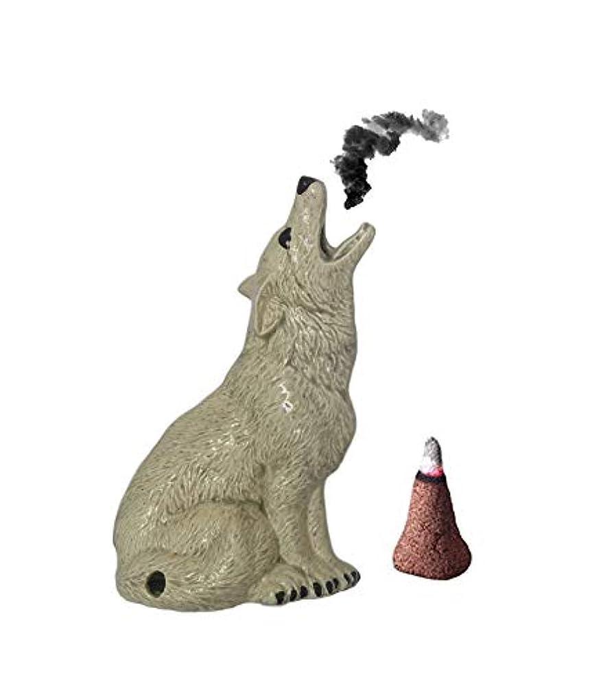パノラマ野心的なめらかMedium Howling Wolf Incense Burner Incence、Insense、Insents