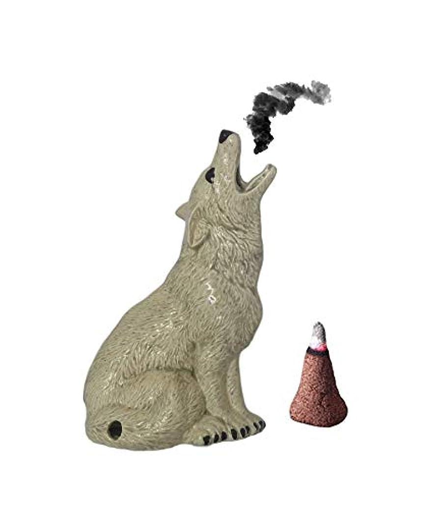 進むフィードパックMedium Howling Wolf Incense Burner Incence、Insense、Insents