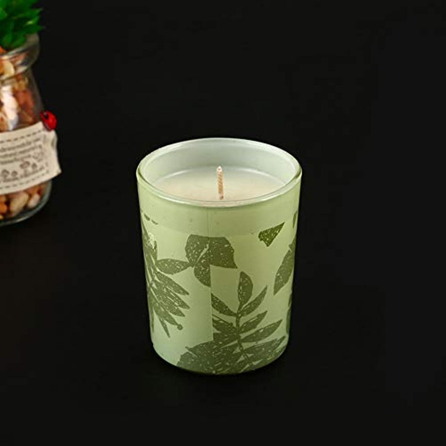 故障中遺産買い手Guomao アロマセラピーキャンドルガラス香料入りキャンドル無煙大豆キャンドル誕生日キャンドル (色 : Green tea)