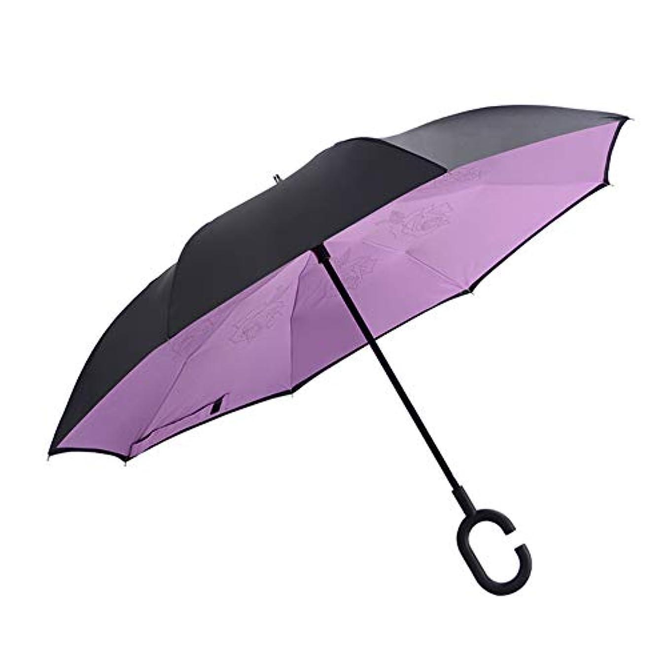 聖域良性ハイランド傘逆逆防風の傘、コンパクトな旅行の雨の傘、C 字型のハンドルを持つ自動開閉、8リブ、車と屋外での使用