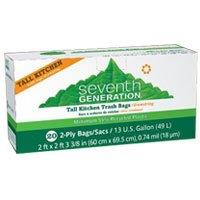 海外直送品Seventh Generation Tall Kitchen Drawstring Trash Bags, 20 CT (Pack of 6)
