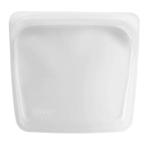 stasher スタッシャー シリコーン バッグ (クリア, Mサイズ) 保存容器 電子レンジ 低温調理 オーブン調理 可能