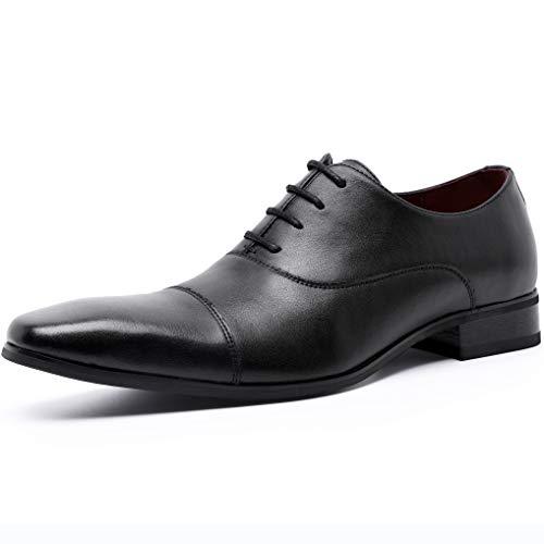 [ロムリゲン] ビジネスシューズ メンズ 革靴 本革 高級紳士靴 ストレートチップ フォーマル 内羽根 ブラック 25.5cm 566-01