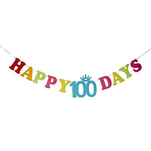 """【ノーブランド品】 ベビーシャワー ホオジロ パーティー DIY 壁飾り 撮影用 小物 カード バナー """"Happy 100 Days"""""""