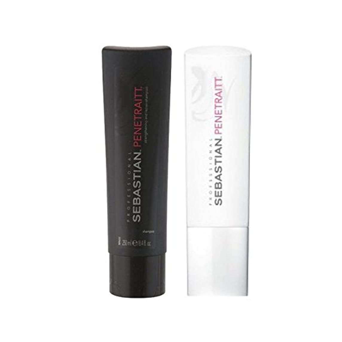 スーパー基本的な中級セバスチャンプロデュオ - シャンプー&コンディショナー x4 - Sebastian Professional Penetraitt Duo - Shampoo & Conditioner (Pack of 4) [並行輸入品]