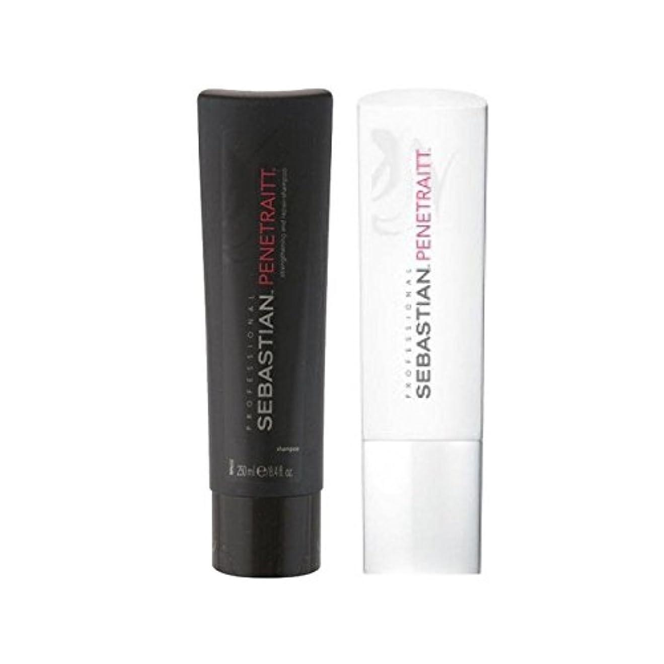 殉教者天才まぶしさセバスチャンプロデュオ - シャンプー&コンディショナー x2 - Sebastian Professional Penetraitt Duo - Shampoo & Conditioner (Pack of 2) [並行輸入品]