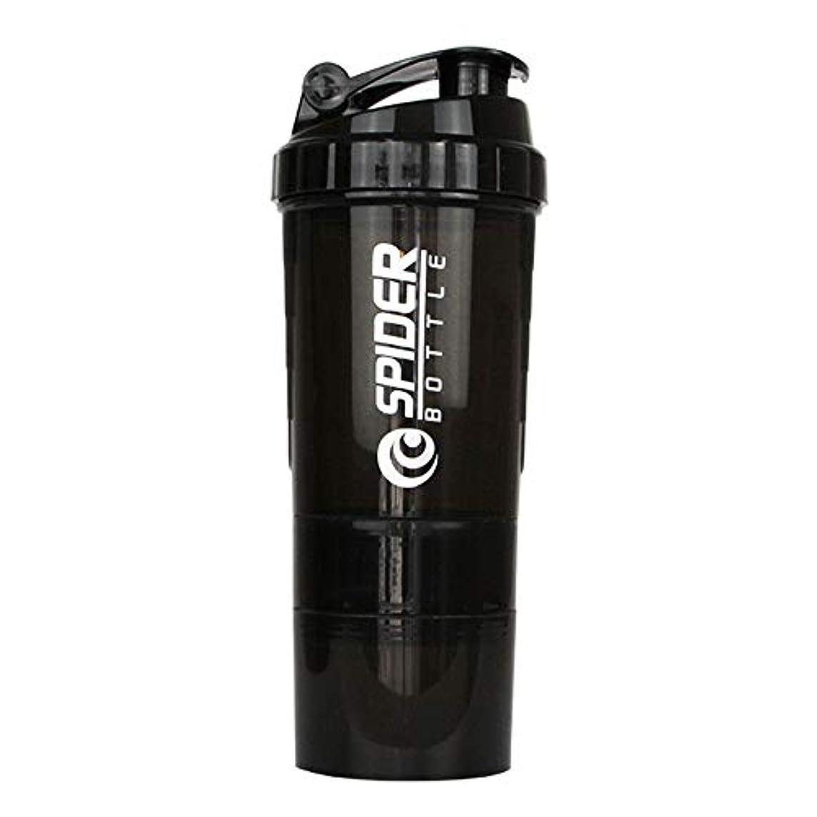 メモステートメント窒息させるプロテインシェイカー 500ml 多機能 シェーカーボトル (ブラック)