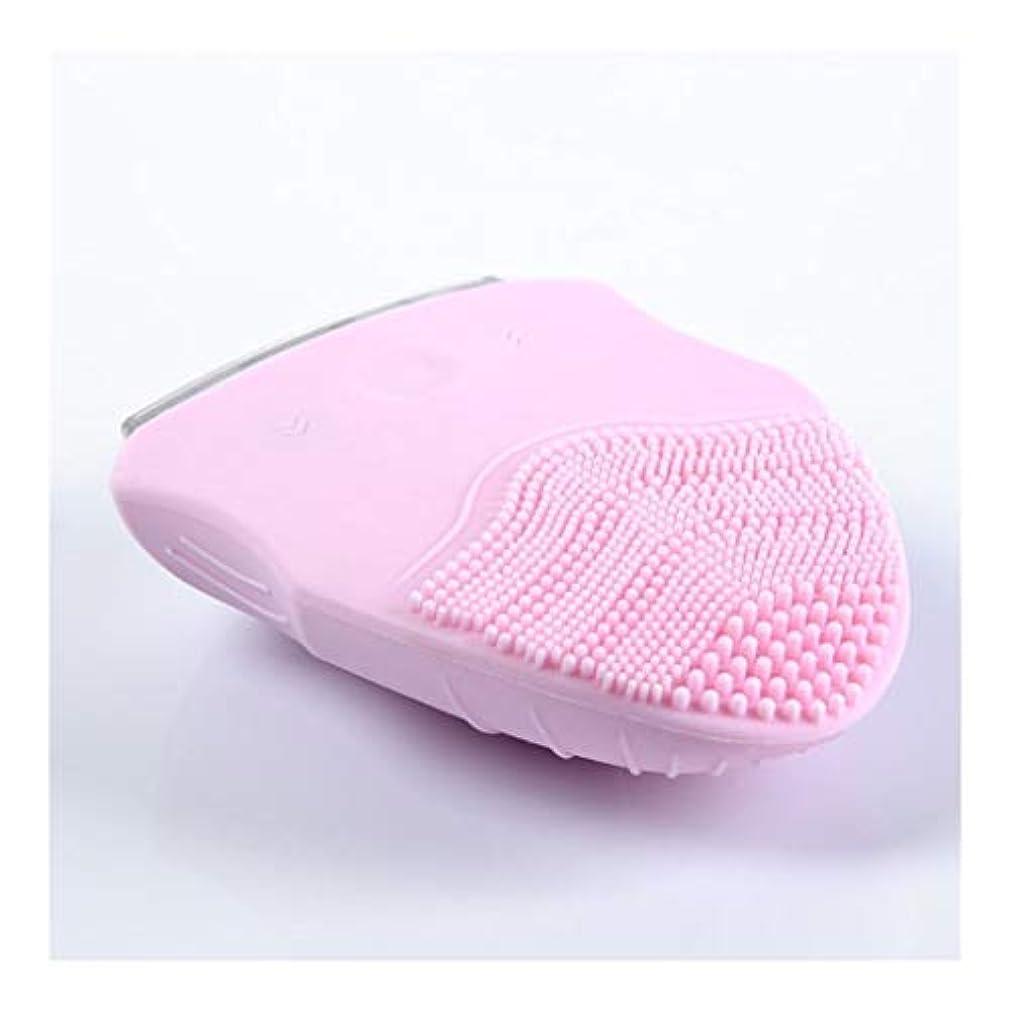 引き潮発掘する所有者ソニックバイブレーションフェイシャルクレンジングブラシ、電動ポータブル美容器具ディープクレンジングブラシは、すべての肌タイプのしわ美容ツールを減らします (Color : Pink)