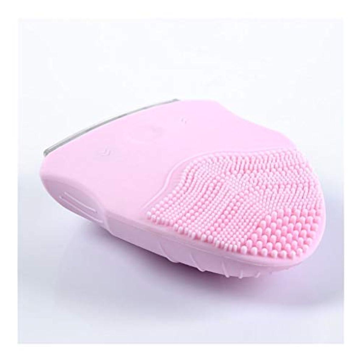 チャネル最終受け入れるソニックバイブレーションフェイシャルクレンジングブラシ、電動ポータブル美容器具ディープクレンジングブラシは、すべての肌タイプのしわ美容ツールを減らします (Color : Pink)
