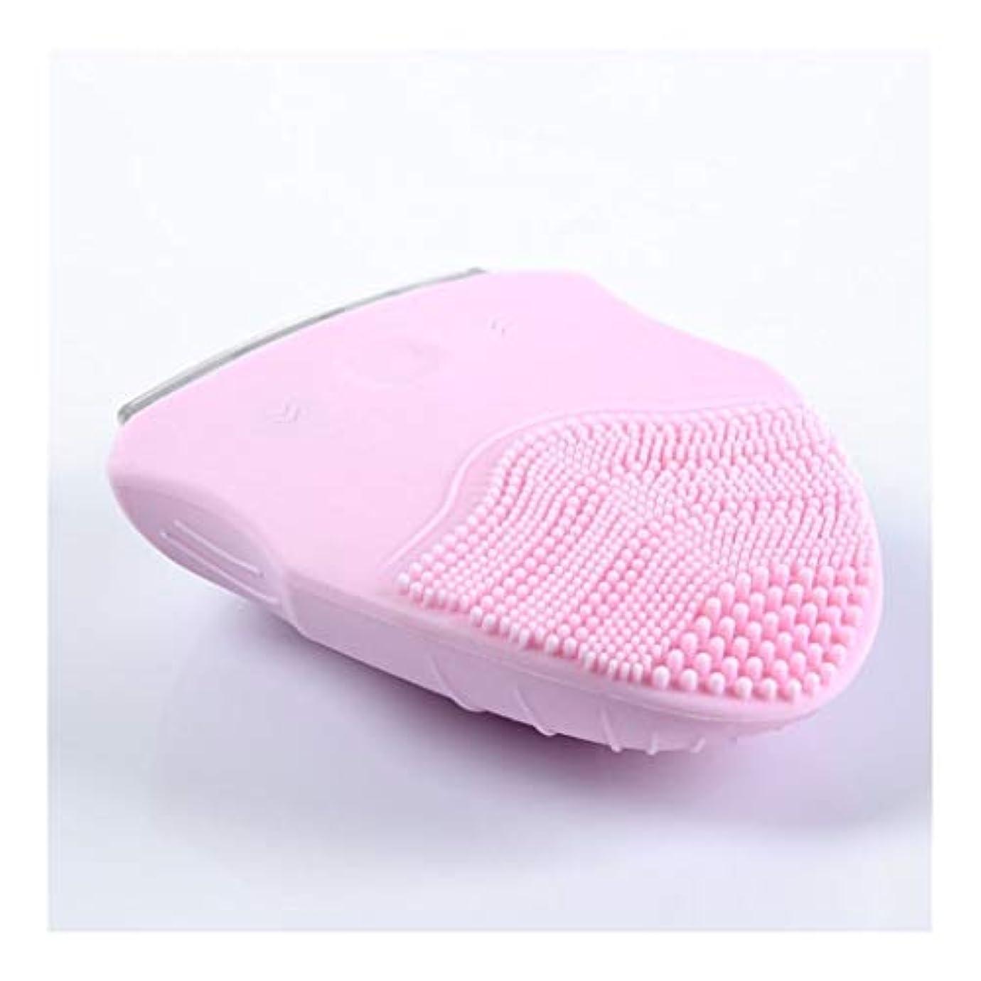 意識鉄道駅潜むソニックバイブレーションフェイシャルクレンジングブラシ、電動ポータブル美容器具ディープクレンジングブラシは、すべての肌タイプのしわ美容ツールを減らします (Color : Pink)