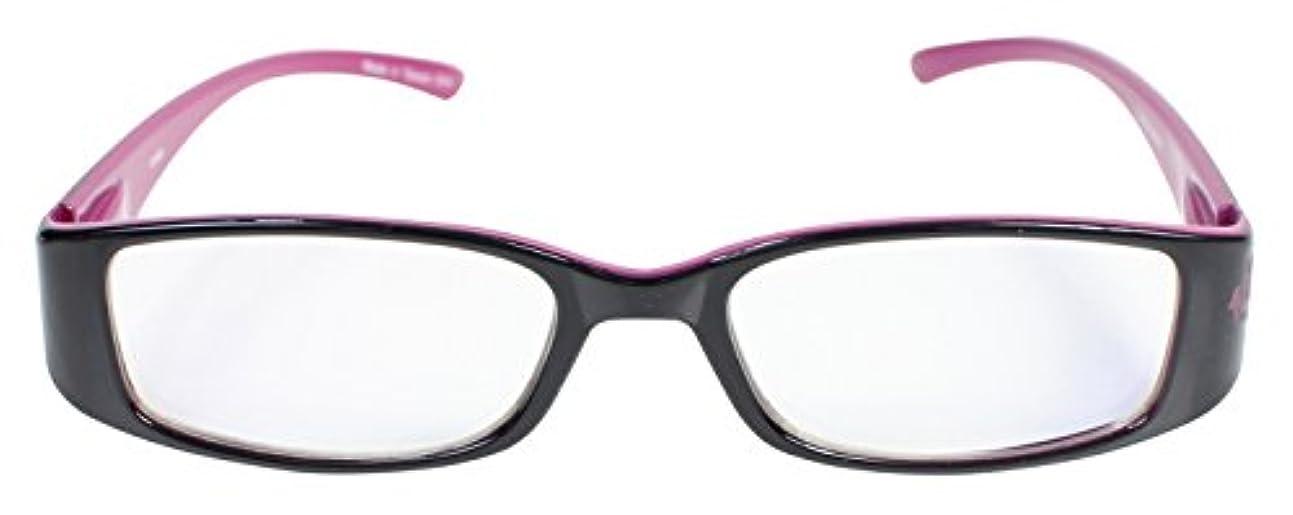 パール 老眼鏡 リーディングラス ブルーライトカット CSTADO スクエア ブラック +2.0 度数 LT-P009BK PK +2.0 女性用