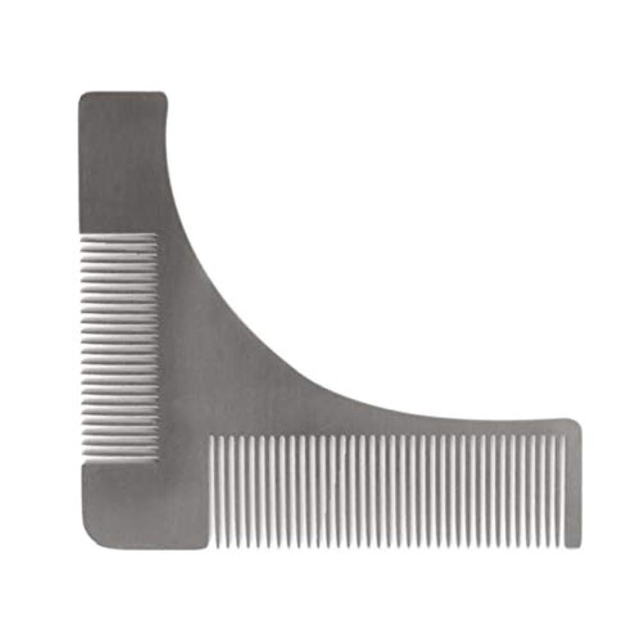 可塑性膨張するしかしながらSaikogoods 頬顎口ひげのためのステンレス鋼 ビアードトリミングくし シェーピングスタイリングテンプレート 紳士ヒゲトリマーツール 銀