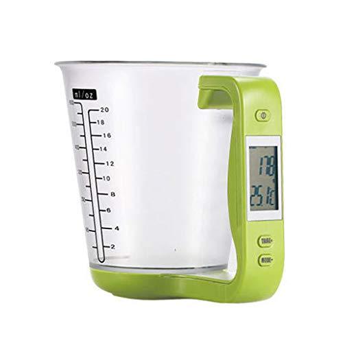 Mangjiu Dデジタル計量カップ 電子スケール 粉ミルクスプーン 調整可能なスケールキー 調理カップ デジタルスケール クッキングスケール 分離可能 (緑)