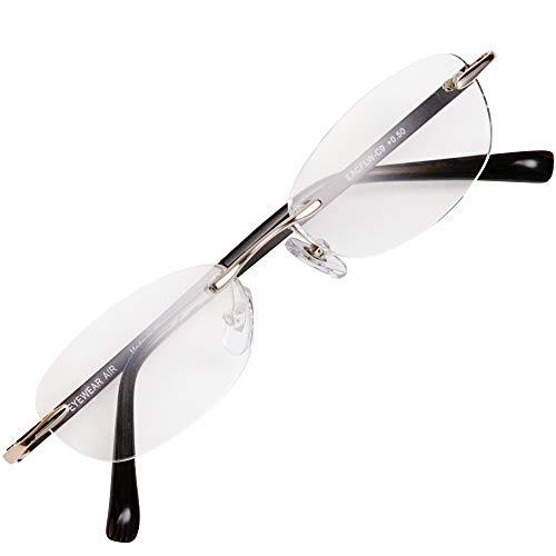フチなし 軽い 老眼鏡 アイウェアエア おしゃれなフレームレス メンズ レディース ブルーライトカット +0.5~+2.5 4色 オーバルウェリントン ブラウン C9 +2.00