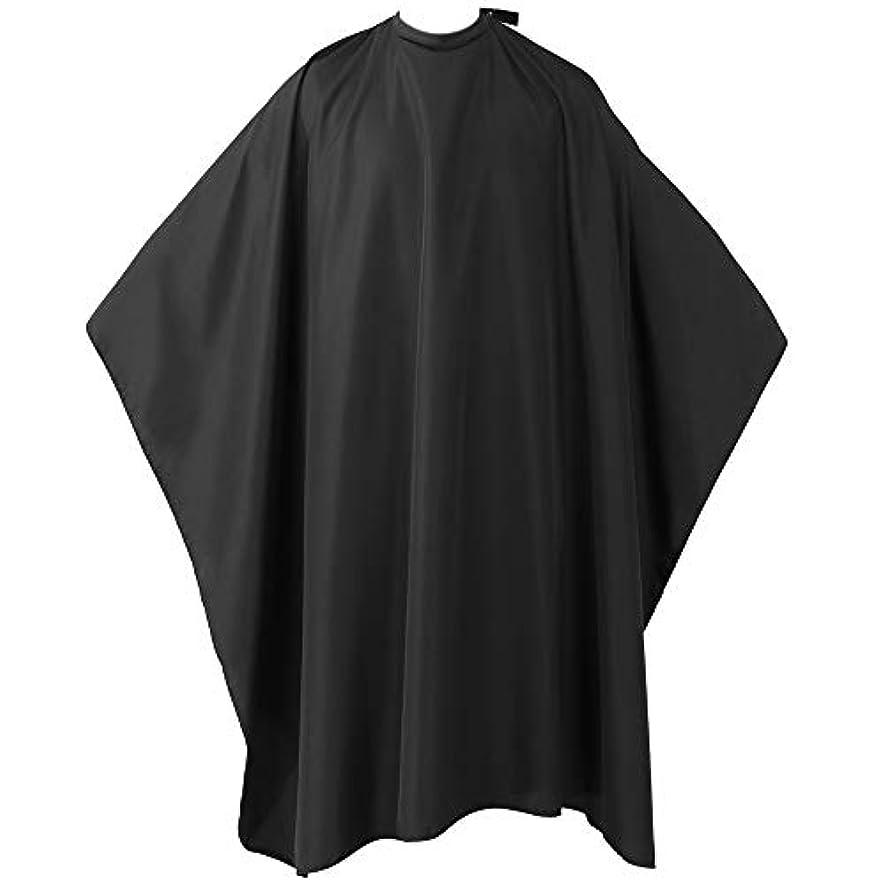 ヘアーエプロン 散髪マント 散髪ケープ ファミリー理髪 折りたたみ式 防水加工 ヘアスタイリングツール (ブラック)
