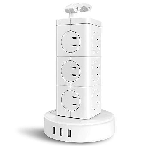 タワー型電源タップ BEVA 3層小型 縦コンセント 12個AC口(110-125V)+3個USBポート(最大4.8A/5V)雷ガード 過負荷保護 省エネ 延長コード2m オフィス/家庭給電用 シンプル 和洋OKのホワイト