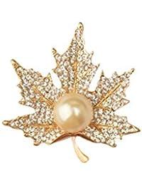 【ノーブランド品】宝飾品 秋の金色の水晶カエデ 衣類のスーツアクセサリー ブローチピン