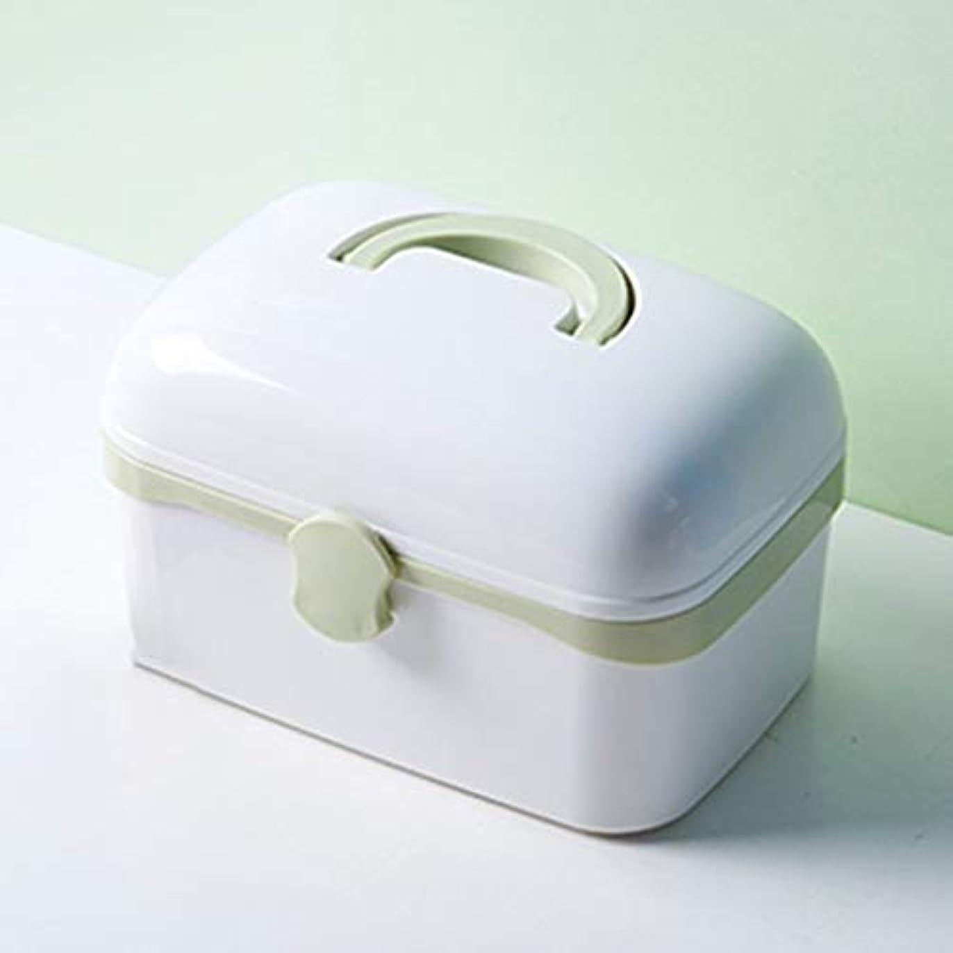 スパン復活する累積多層大型家庭用携帯用薬箱プラスチック救急箱オプション3色 LXMSP (Color : Green)