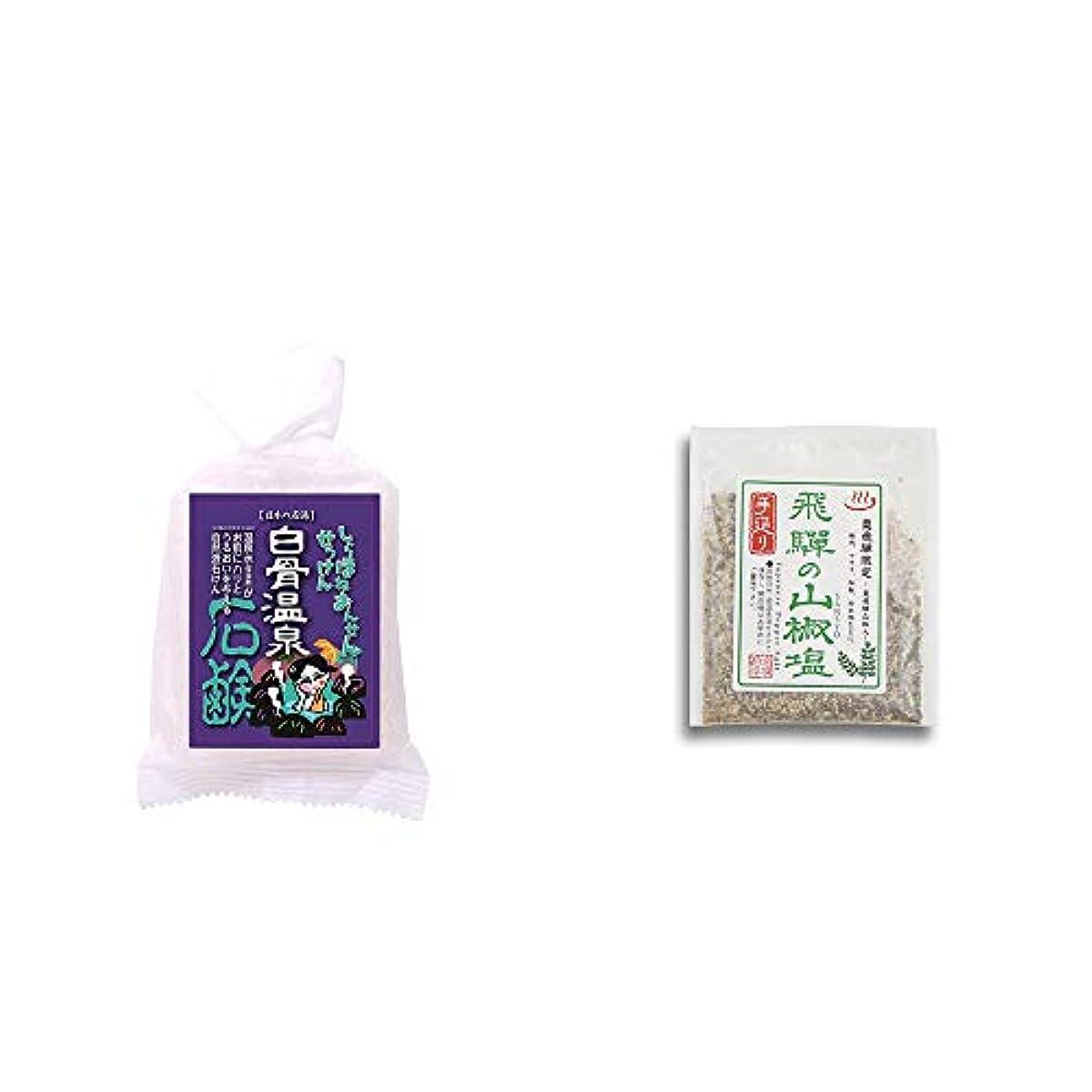 好きチキン頻繁に[2点セット] 信州 白骨温泉石鹸(80g)?手造り 飛騨の山椒塩(40g)