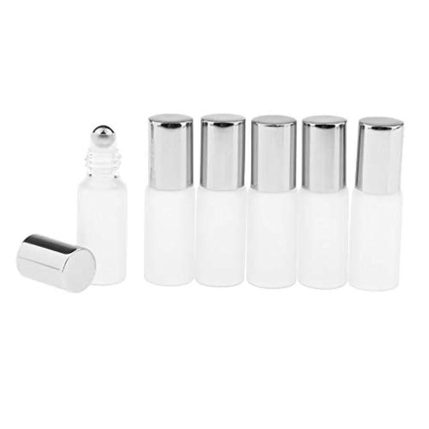 であること寝室課税3色選ぶ ロールオンアロマボトル 小分けボトル 詰替え容器 漏れ防止 ガラス製空のボトル 6本セット - シルバー