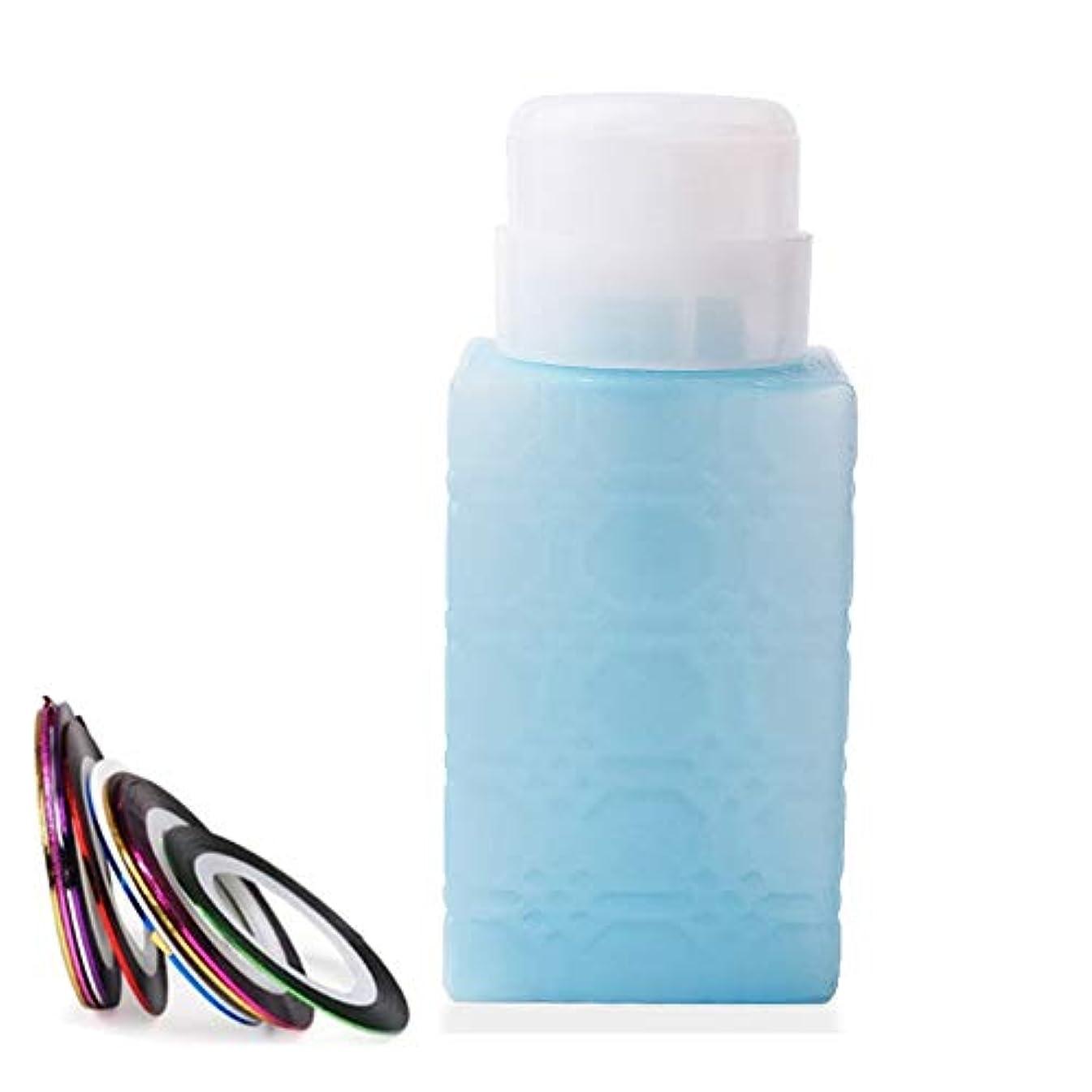 忠実に情緒的くすぐったい空ポンプボトル ポンプディスペンサー ネイルワイプ瓶 ジュルクリーナー ジュルリムーバー 可愛い (ブルー)