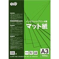 (まとめ)TANOSEE インクジェットプリンタ用マット紙 A3 1冊(100枚) 【×5セット】 〈簡易梱包