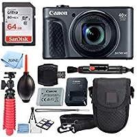 Canon PowerShot SX730 HS デジタルカメラ (ブラック) + 64GB メモリカード+ ポイント&シュートケース + フレキシブル三脚 + USBカードリーダー + レンズクリーニングペン + クリーニングキット + アクセサリーセット