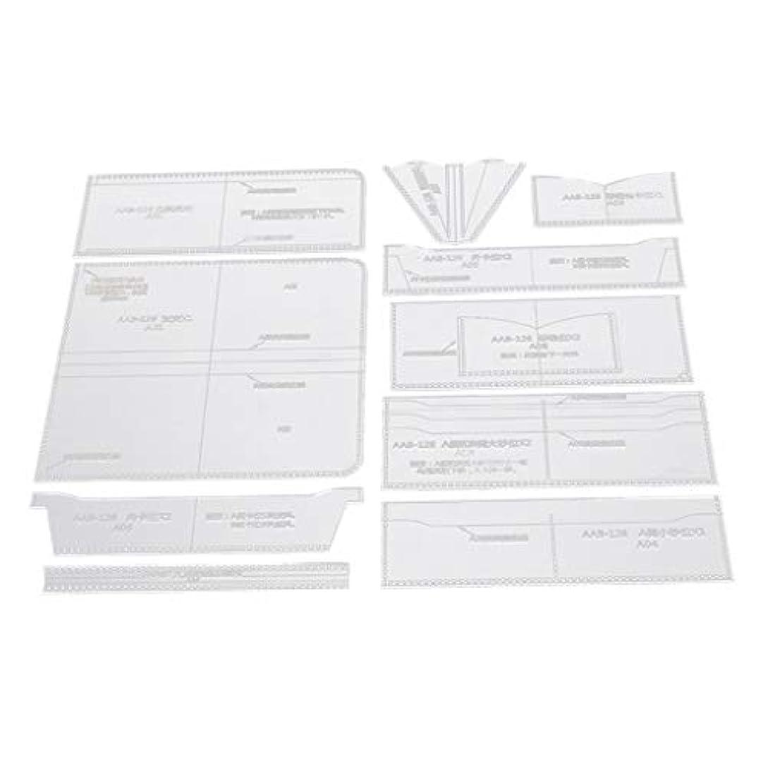 ワイン宇宙保守的革製袋を作るための10個の透明なアクリルのテンプレート財布パターンステンシル
