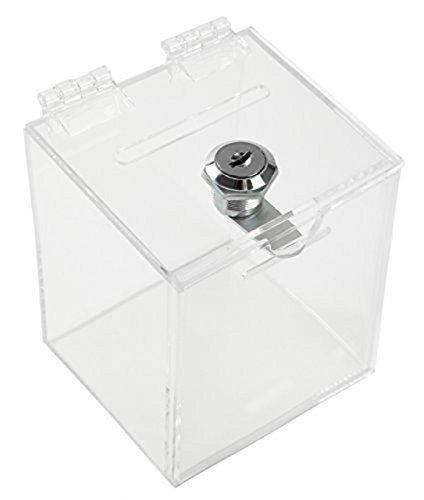 Aoakua 鍵付き アクリル 貯金箱 募金箱 チャリティーボックス W90mm クリア