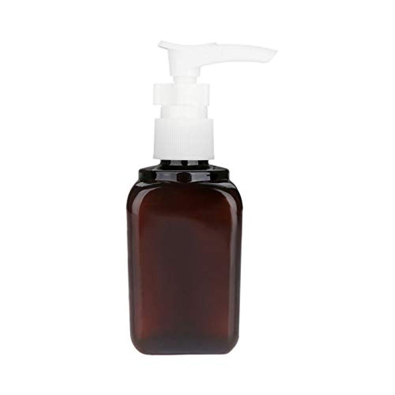 後エラーみ1本 押し式ボトル ポンプ瓶 ポンプボトル 遮光瓶 ドロップポンプ 泡立て 詰め替え シャンプーハンドソープ 茶色 PET製