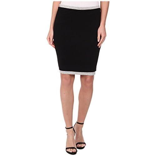 [スリードッツ] Three Dots レディース Two Toned Skirt スカート Black/Granite SM (US 4-6) [並行輸入品]