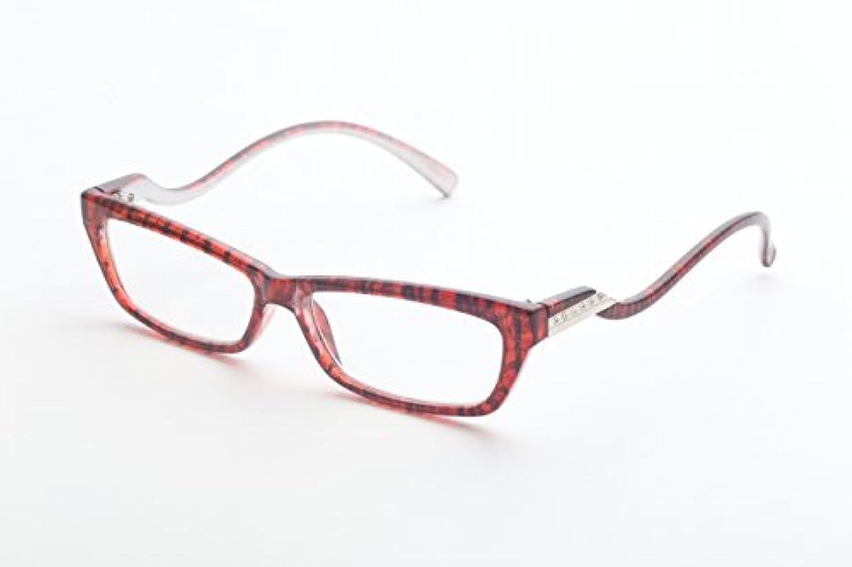 しょっぱい震え価値ズームマジック 老眼鏡 R-285-01 レッドブラック 度数:3.00