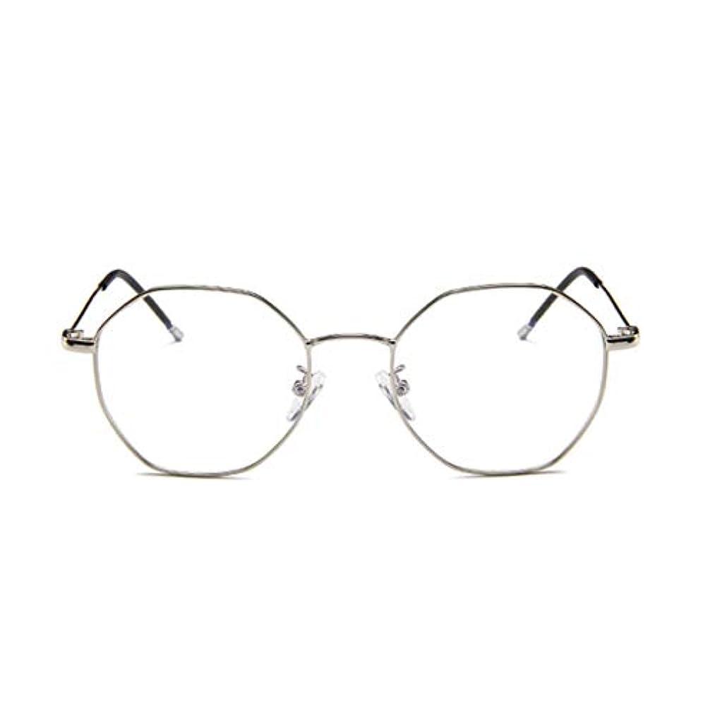 用心道徳の無効ファッションメガネ近視多角形フレーム韓国語版金属フレーム男性と女性のための不規則なフラットグラス-スライバー
