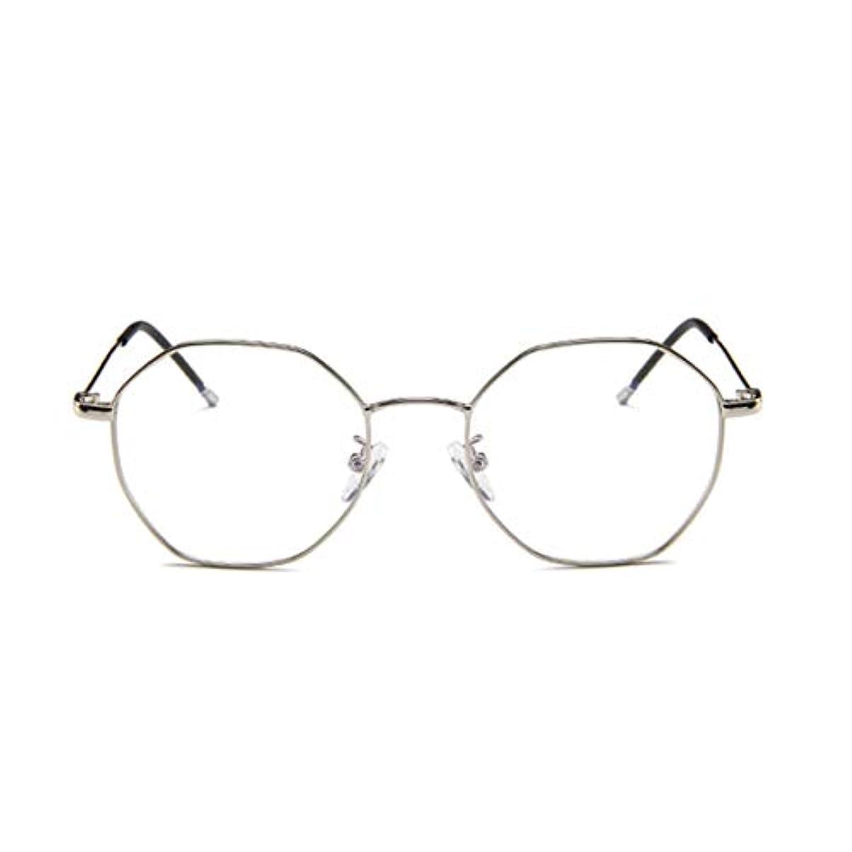エスカレート仮定、想定。推測リマファッションメガネ近視多角形フレーム韓国語版金属フレーム男性と女性のための不規則なフラットグラス-スライバー