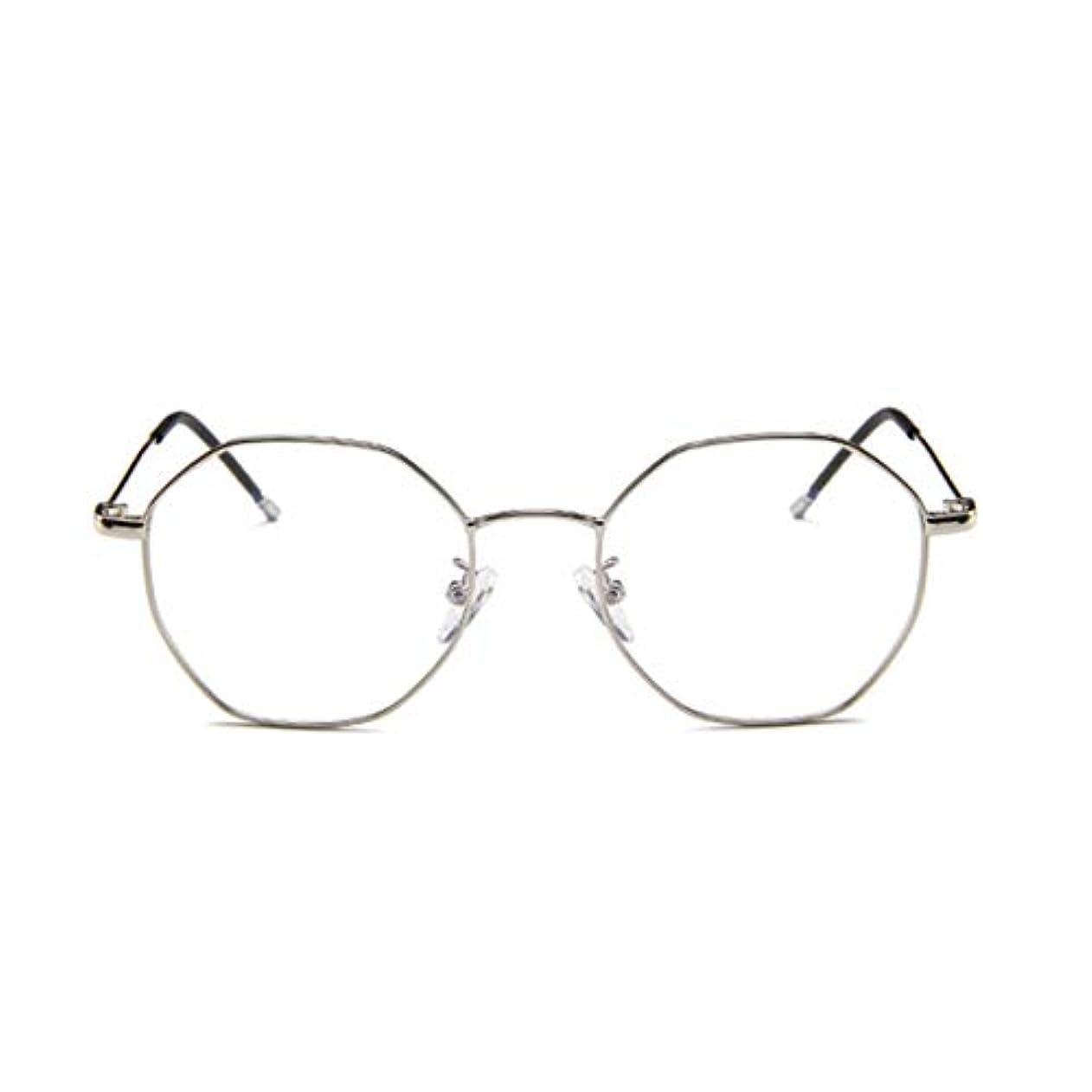 甘美なルーム見捨てられたファッションメガネ近視多角形フレーム韓国語版金属フレーム男性と女性のための不規則なフラットグラス-スライバー