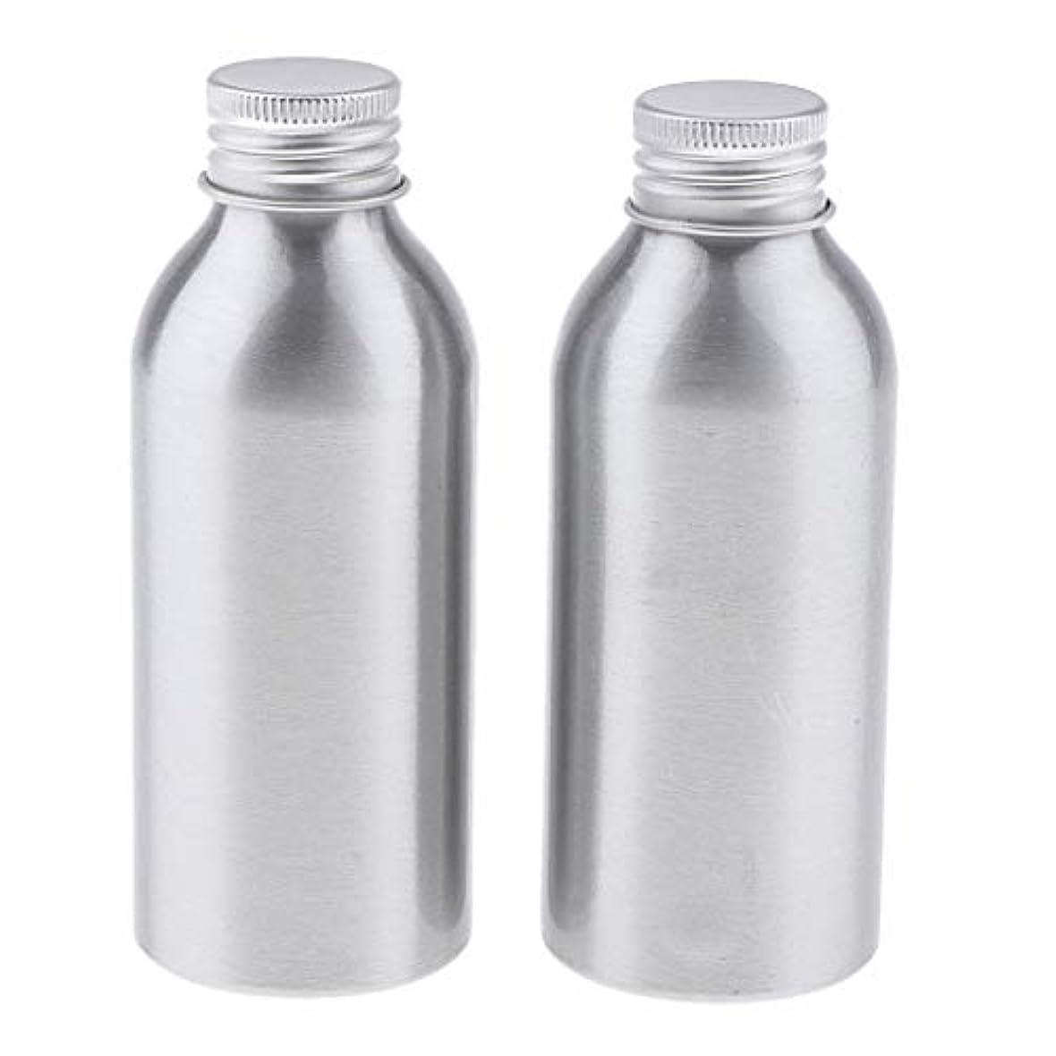 ヒューズシェルより平らな2本 アルミボトル 空容器 化粧品収納容器 ディスペンサーボトル シルバー 全5サイズ - 120ml