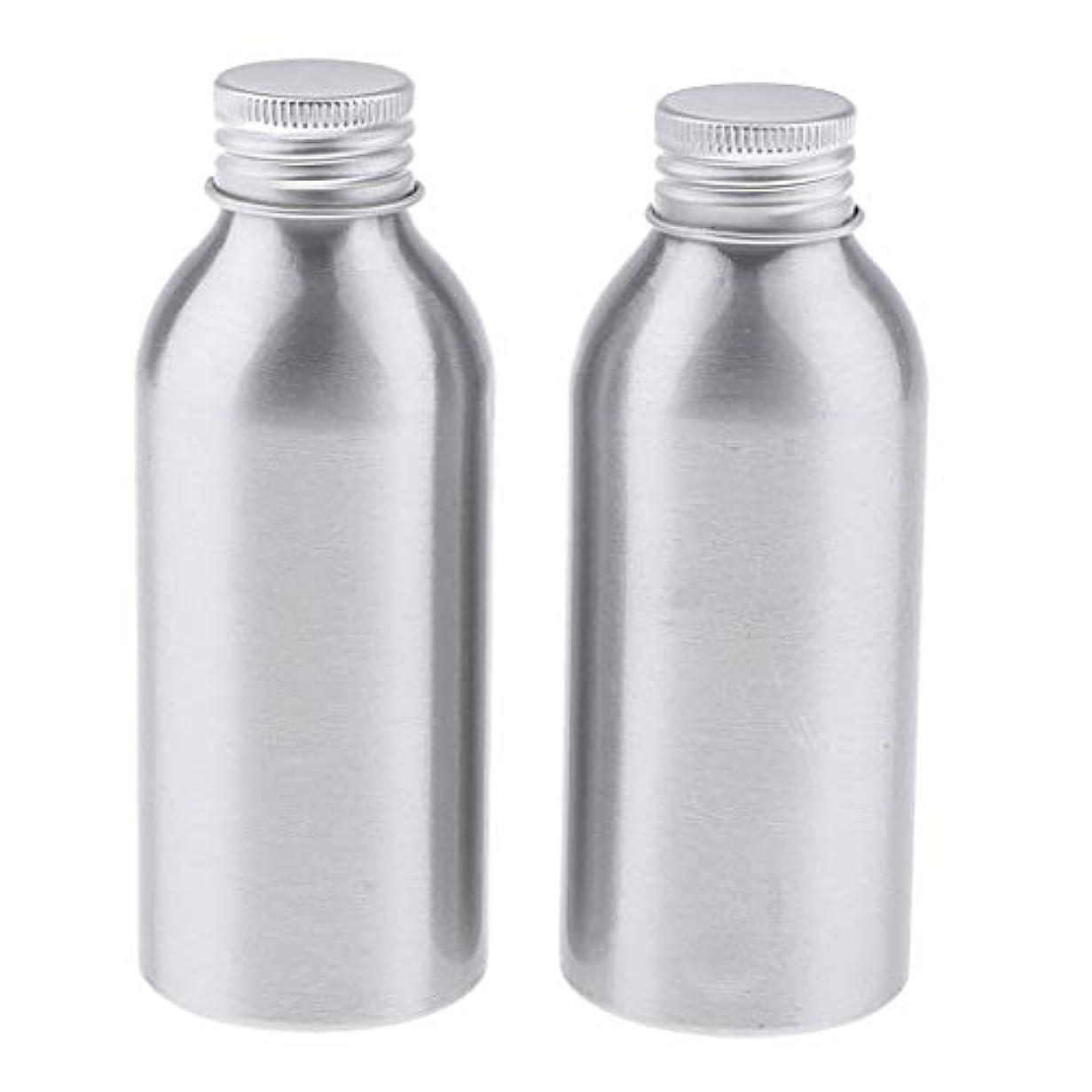 電子引く欺2本 アルミボトル 空容器 化粧品収納容器 ディスペンサーボトル シルバー 全5サイズ - 120ml
