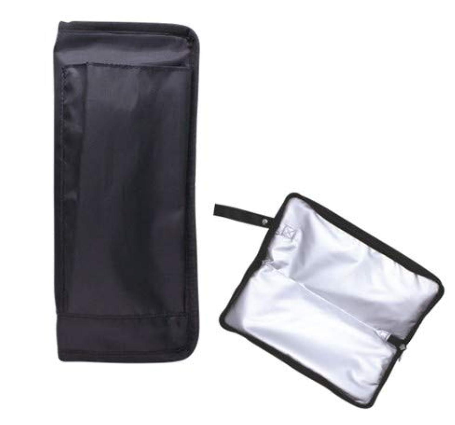 震え過敏な創造ヘアアイロンカバー(ブラック)HAC1800 ヘア アイロン コテ スタイリング 温 冷 一時置き コード スッキリ バッグ 収納 フック付き 自宅 お出かけ 旅行 化粧