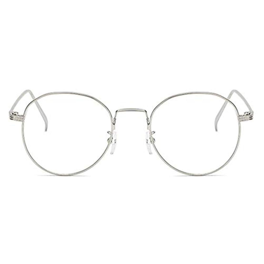 ライブ生じるチャネル丸型アンチブルーライト男性女性メガネ軽量金属フレームプレーンミラーレンズアイウェアメガネ-シルバー