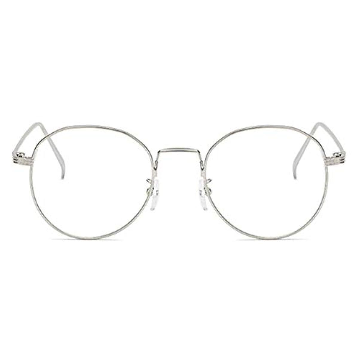 基準頬混合した丸型アンチブルーライト男性女性メガネ軽量金属フレームプレーンミラーレンズアイウェアメガネ-シルバー