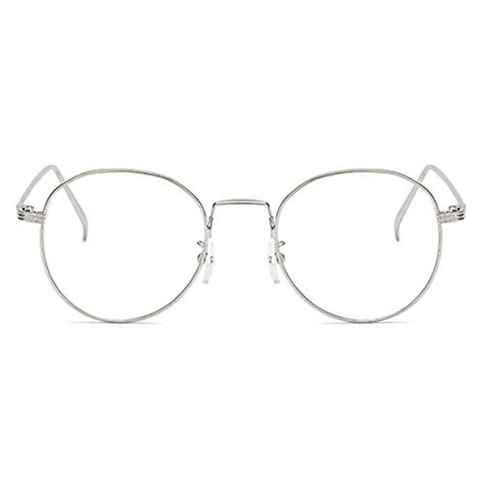 提供された仮説肉の丸型アンチブルーライト男性女性メガネ軽量金属フレームプレーンミラーレンズアイウェアメガネ-シルバー